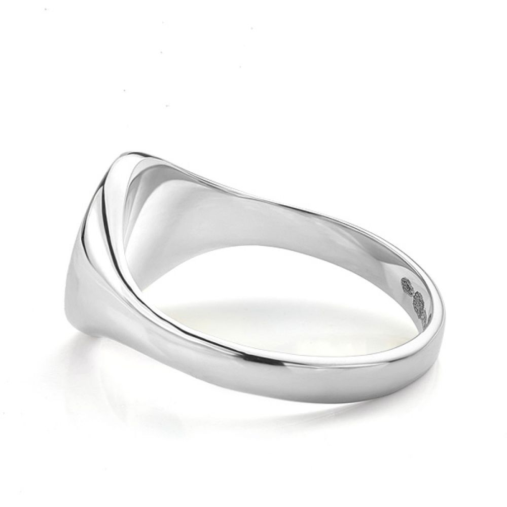 Small round signet ring white gold side view