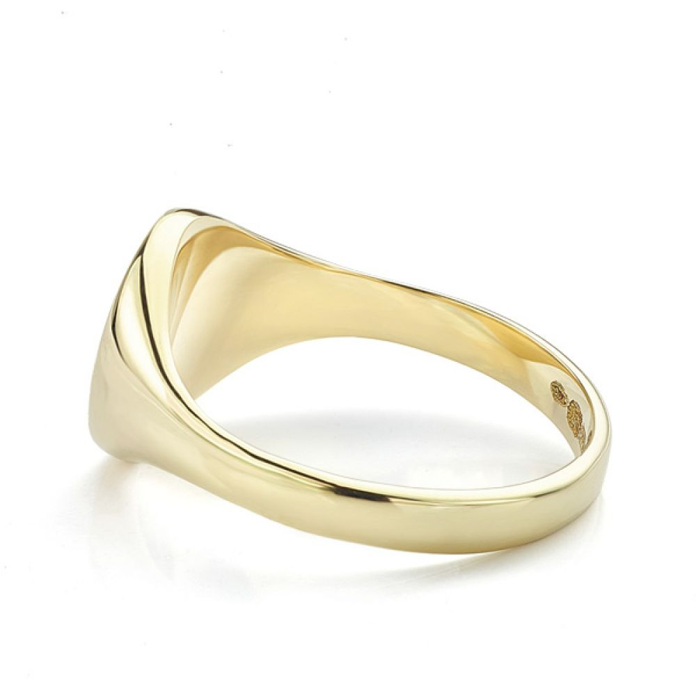 Small round signet ring yellow gold side view