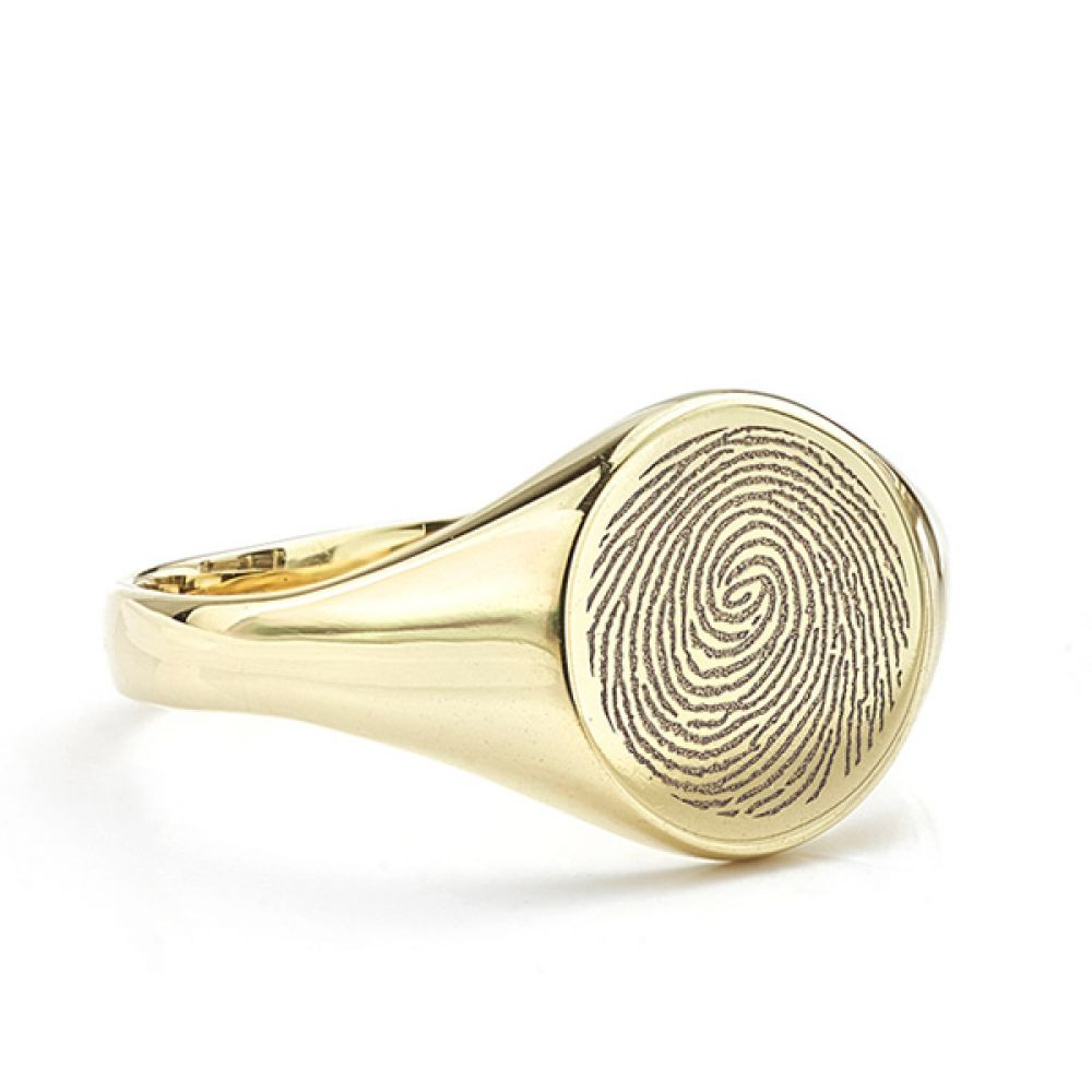Fingerprint signet ring with small round face
