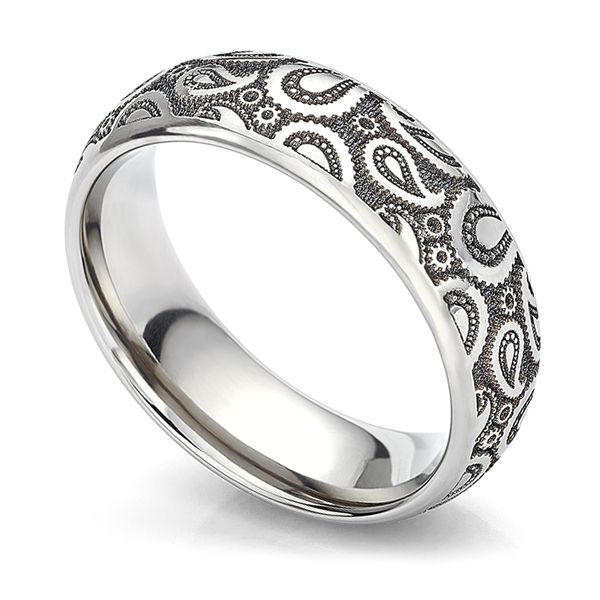 Paisley Patterned Wedding Ring Main Image