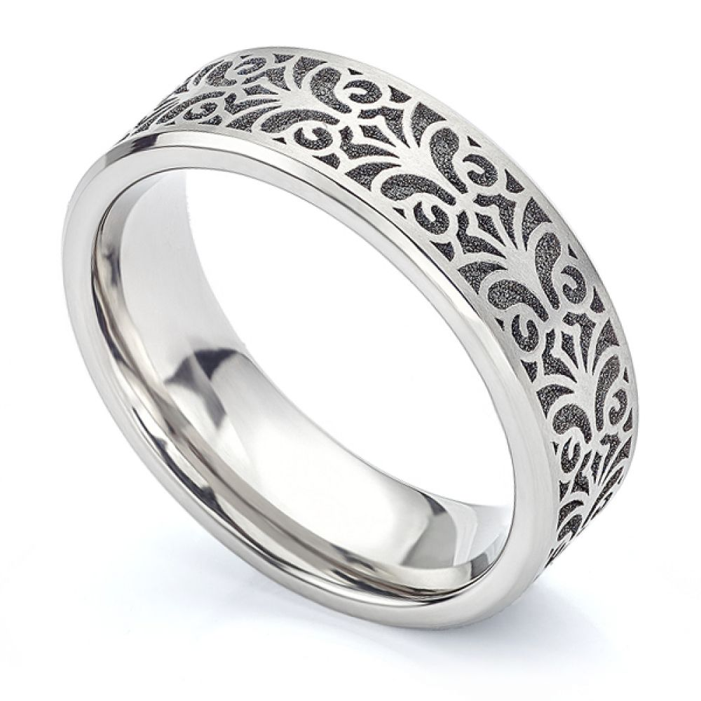 Baroque patterned Titanium wedding ring