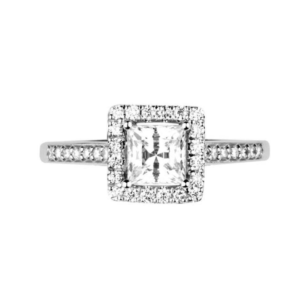 Princess cut diamond halo with diamond shoulders - Top - White