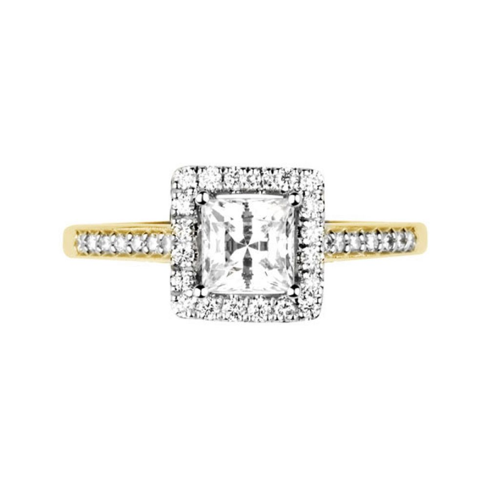 Princess cut diamond halo with diamond shoulders - Top - Yellow