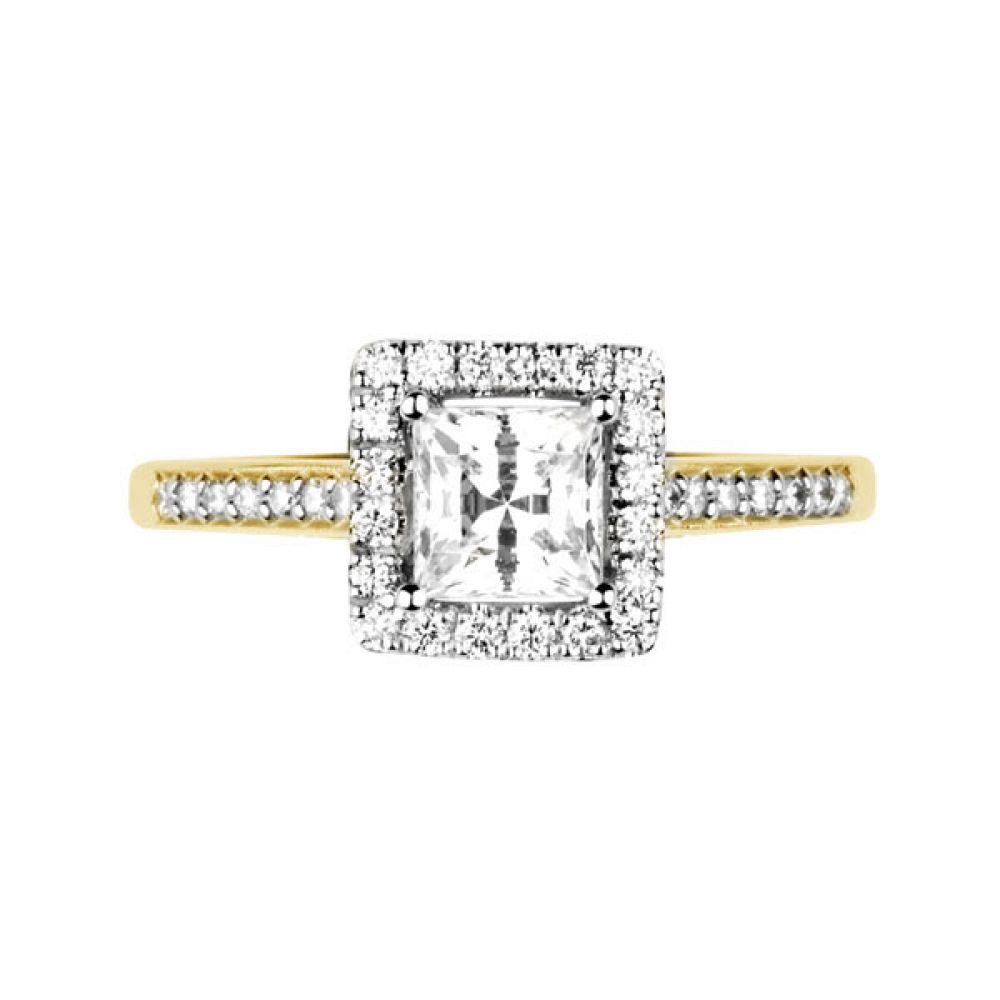 Princess cut diamond halo with diamond shoulders - Top - Yellow
