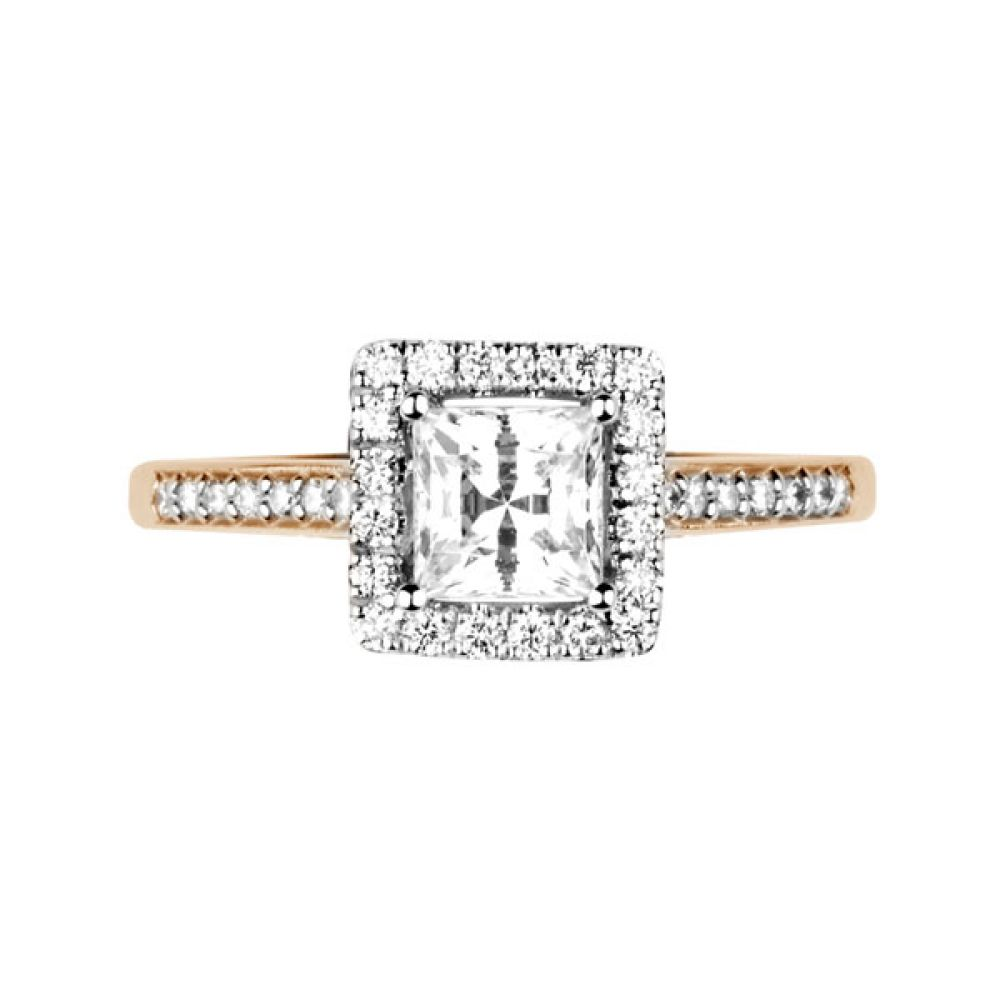 Princess cut diamond halo with diamond shoulders - Top - Rose