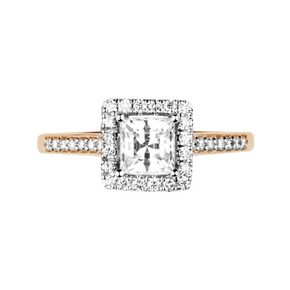 Princess cut diamond halo with diamond shoulders - Top - Rose