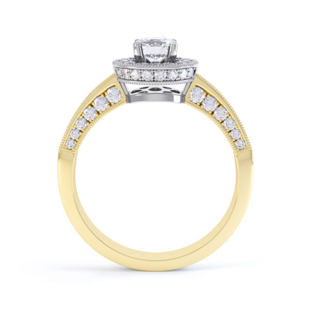 Vintage Styled Milgrain Diamond Halo Ring - yellow - Side