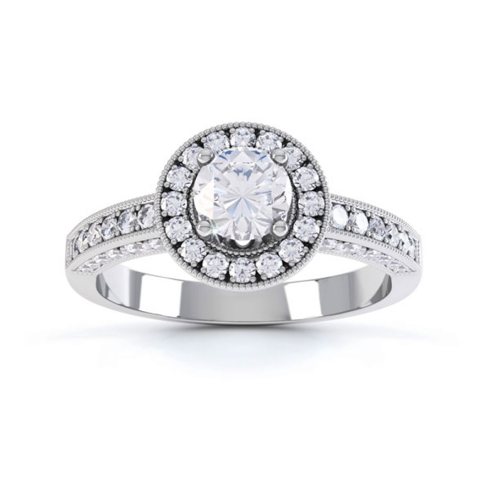 Vintage Styled Milgrain Diamond Halo Ring - White - Top