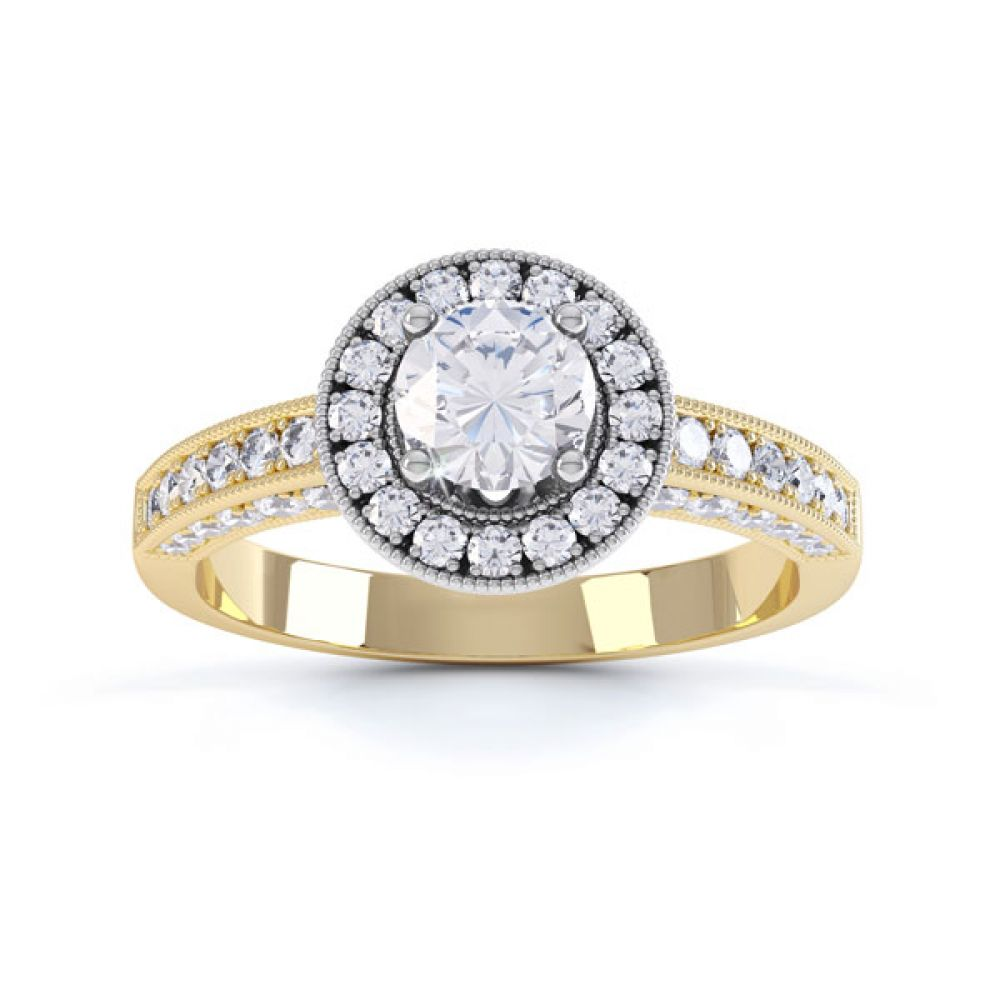 Vintage Styled Milgrain Diamond Halo Ring - yellow - Top