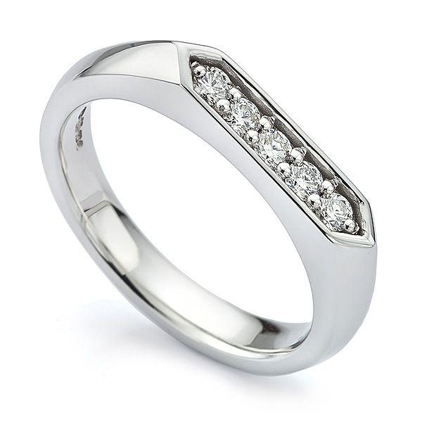 5 Stone Diamond Signet Ring Main Image