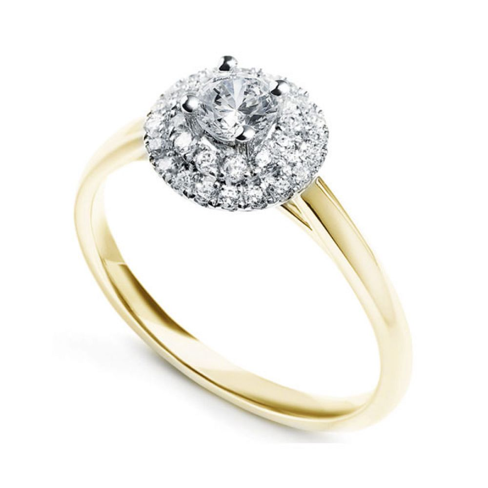 4 Claw Diamond Ring with Tiered Twin Diamond Halo