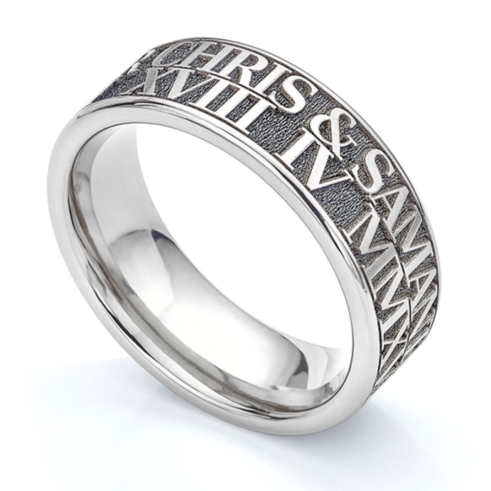 Double row engraved Titanium wedding ring with raised relief