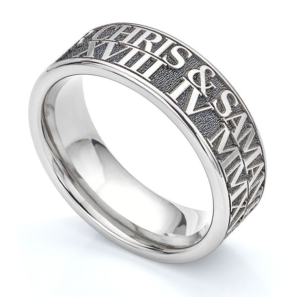 Double Row Engraved Wedding Ring Main Image