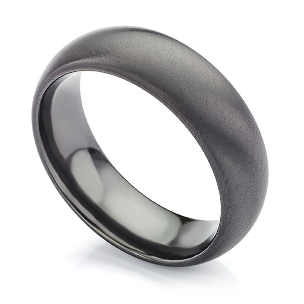 Raven Black Zirconium Wedding Ring with Satin Finish