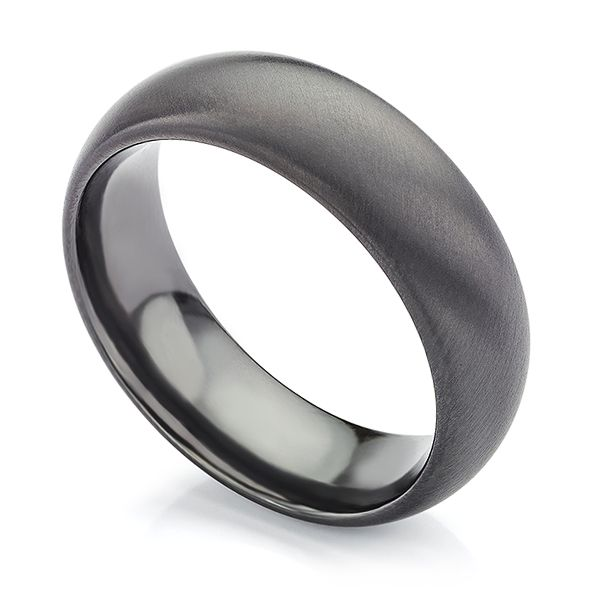 Raven Black Zirconium Wedding Ring Main Image
