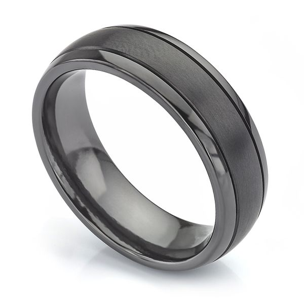 Patterned Black Zirconium Wedding Ring Main Image