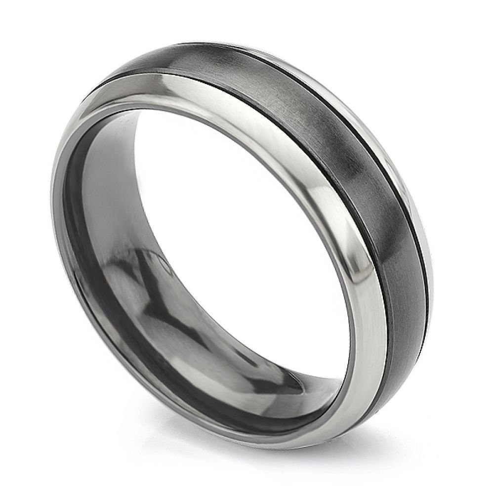 Magpie black and white zirconium wedding ring