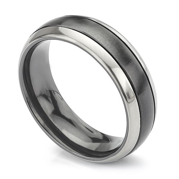 Black & White Zirconium Wedding Ring Main Image