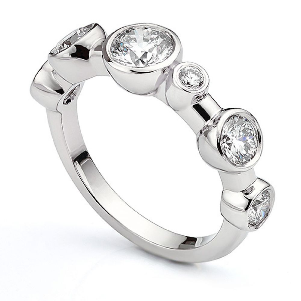Single row diamond bubble ring in 950 Platinum