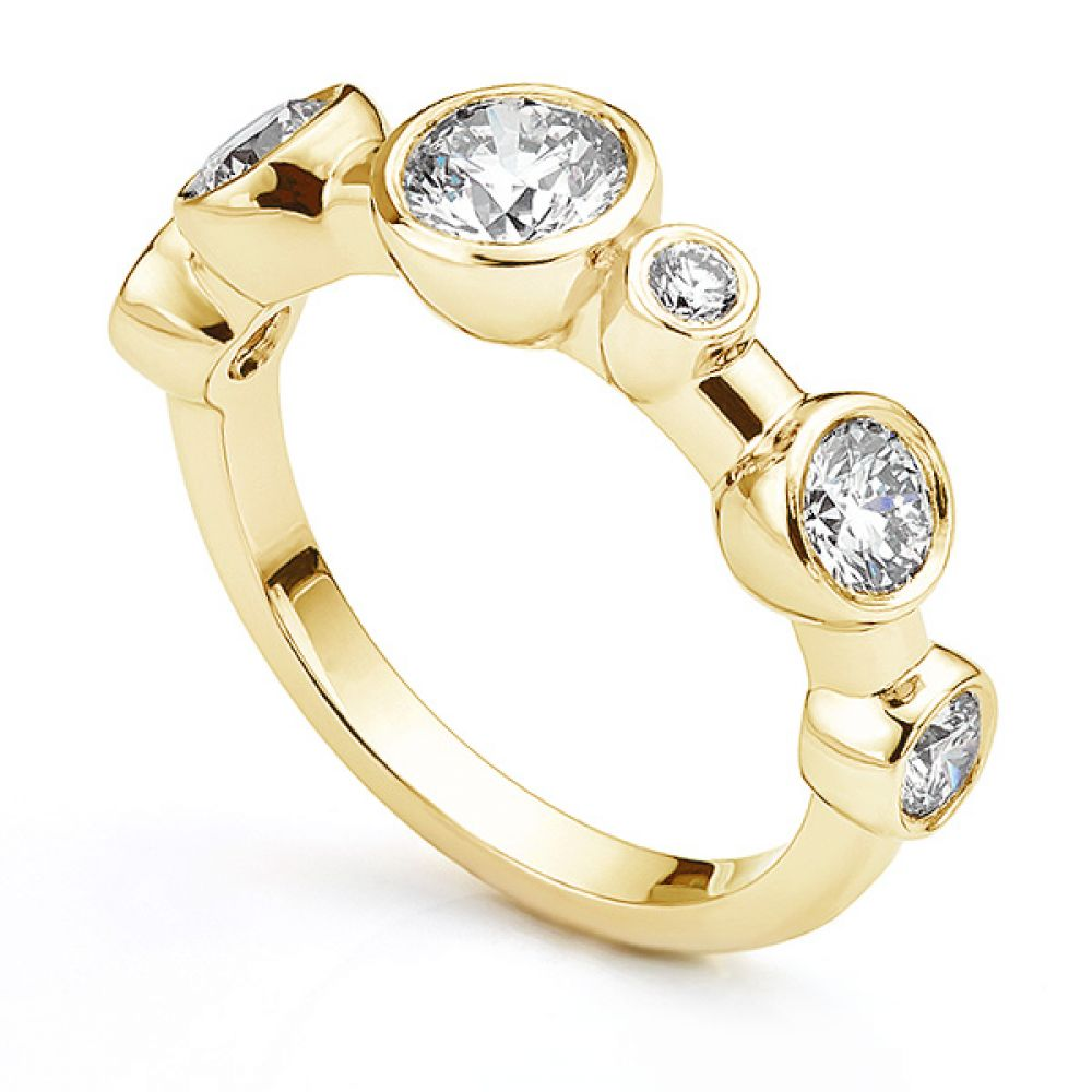 Single row diamond bubble ring in 18ct Yellow Gold