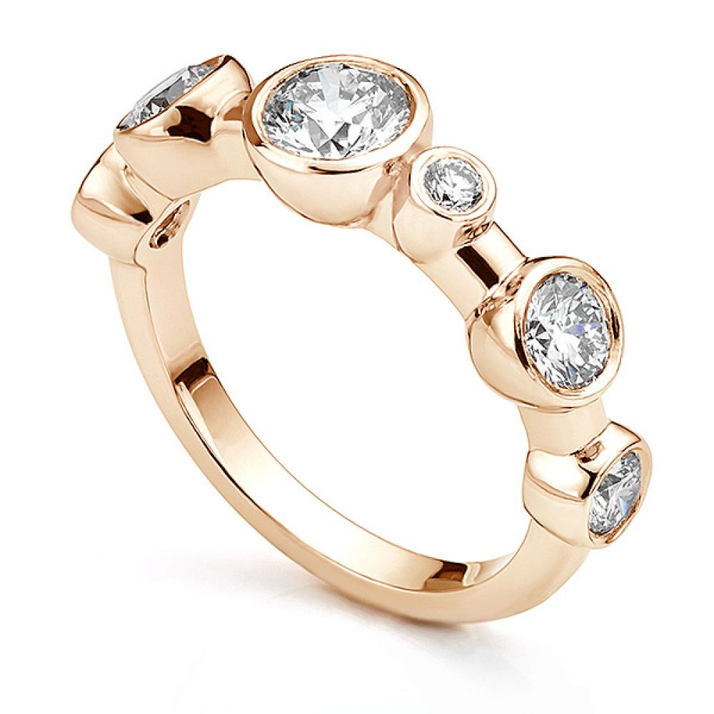Single row diamond bubble ring in 18ct Rose Gold
