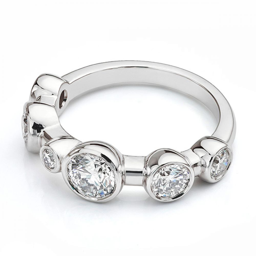 Single row diamond bubble ring in White Gold