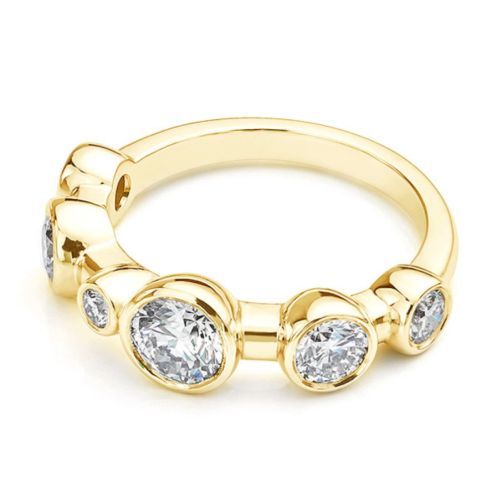 Single row diamond bubble ring, lying down view in yellow gold