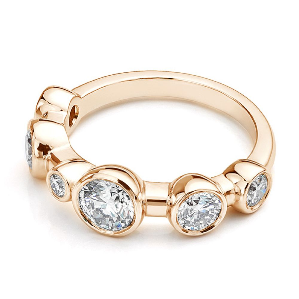 Single row diamond bubble ring, lying down view in rose gold