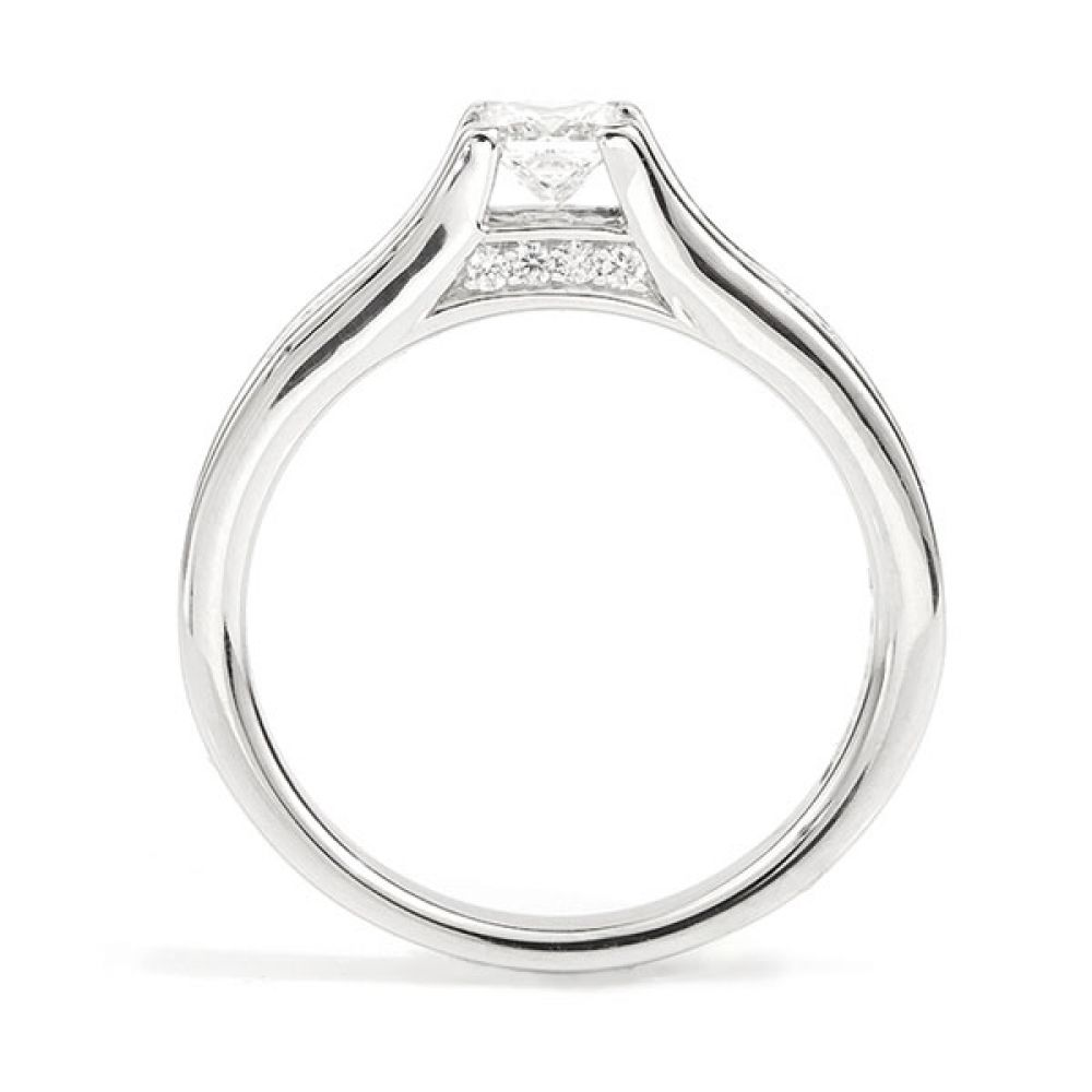 Unique Princess Cut Engagement Ring Side View