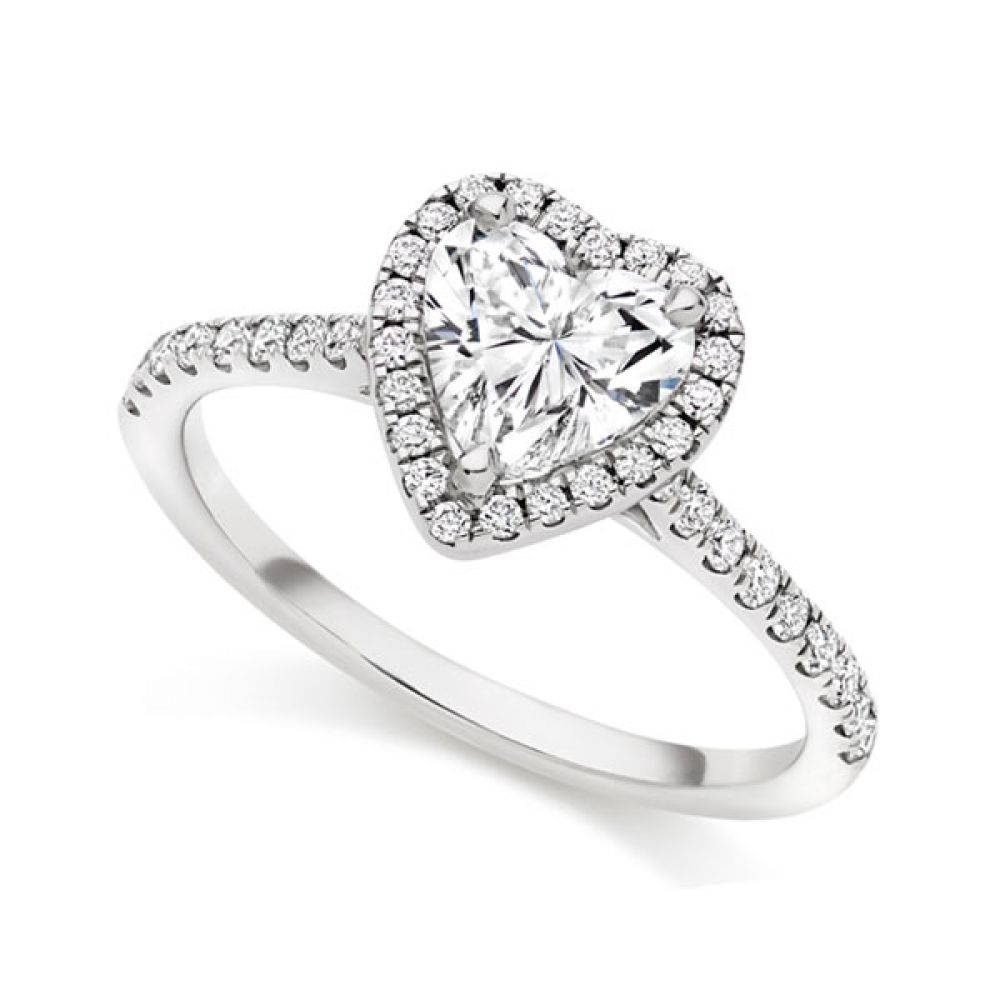 Heart shaped diamond halo engagement ring in white gold