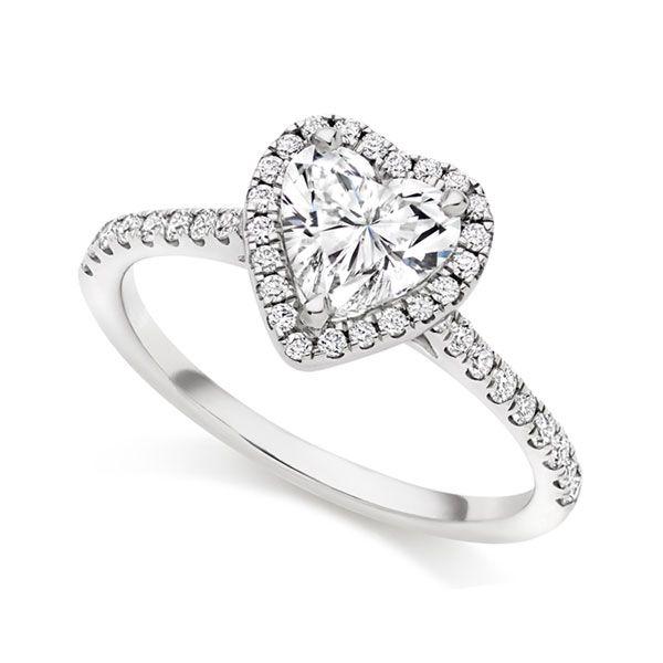 Heart-Shaped Diamond Halo Engagement Ring Main Image
