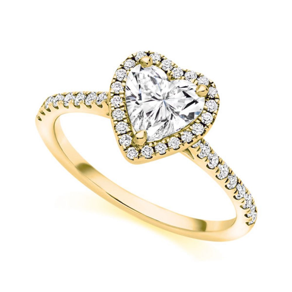 Heart shaped diamond halo engagement ring in yellow gold