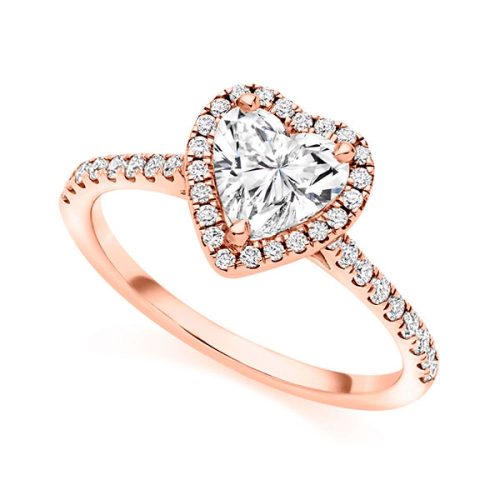 Heart shaped diamond halo engagement ring in rose gold