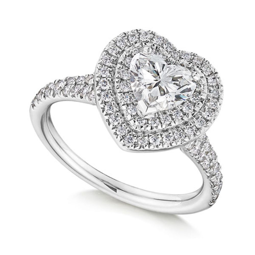 Double Halo Heart-Shaped Engagement Ring - White