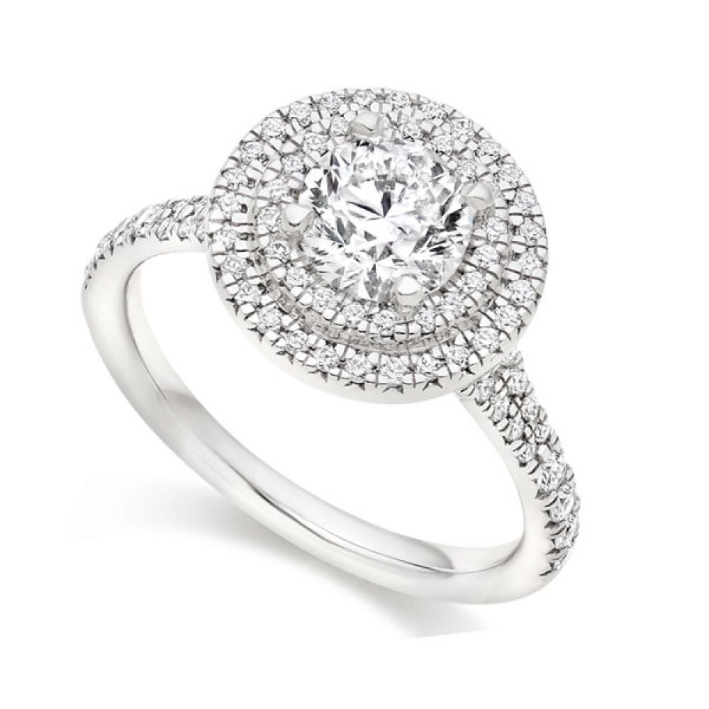 Round double halo engagement ring with diamond shoulders