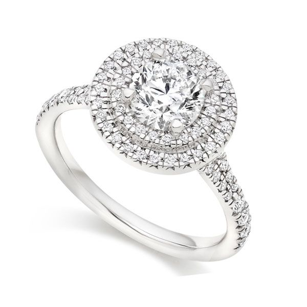 Round Double Halo Engagement Ring Main Image