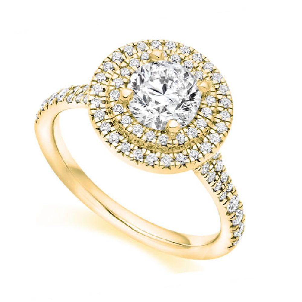 Double Halo with Diamond Set Shoulders - Yellow Gold