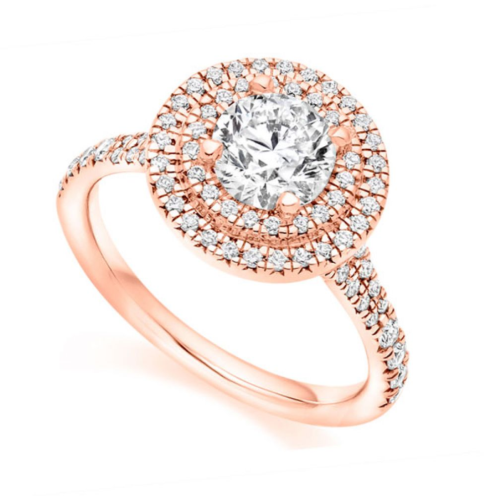 Double Halo with Diamond Set Shoulders - Rose Gold