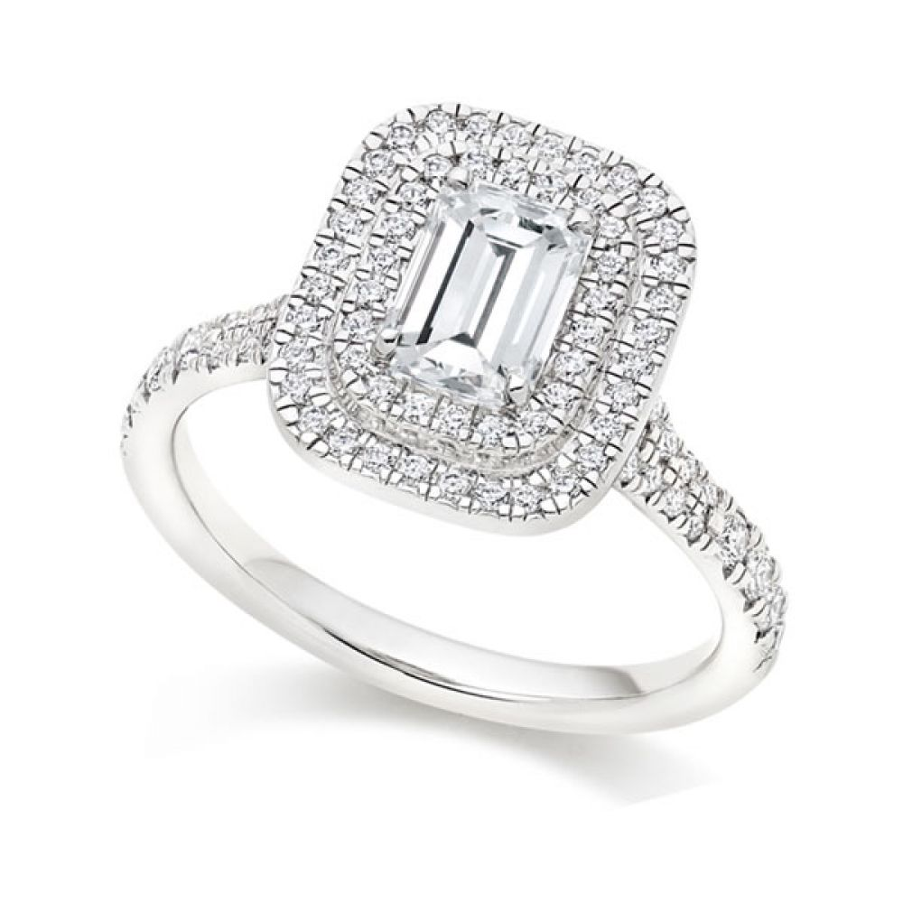 Emerald Cut diamond with Double Halo and fishtail shoulders - White