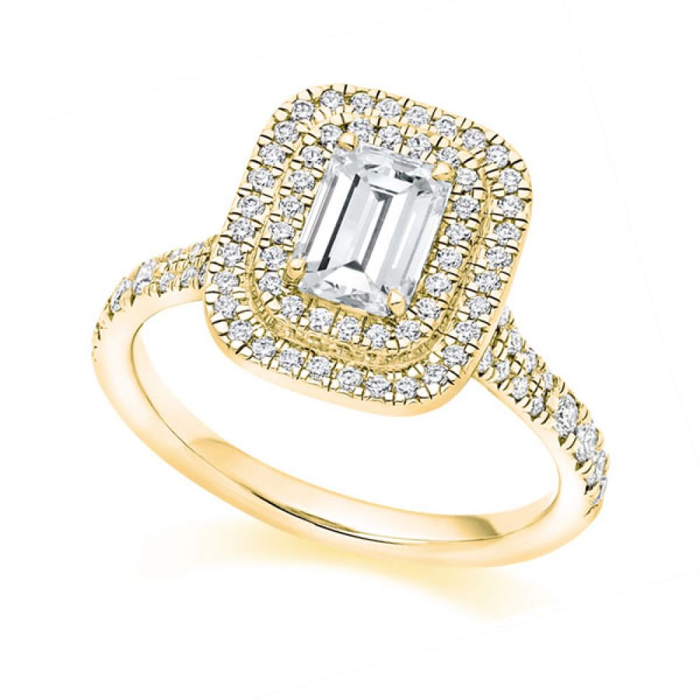 Emerald Cut diamond with Double Halo and fishtail shoulders - Yellow