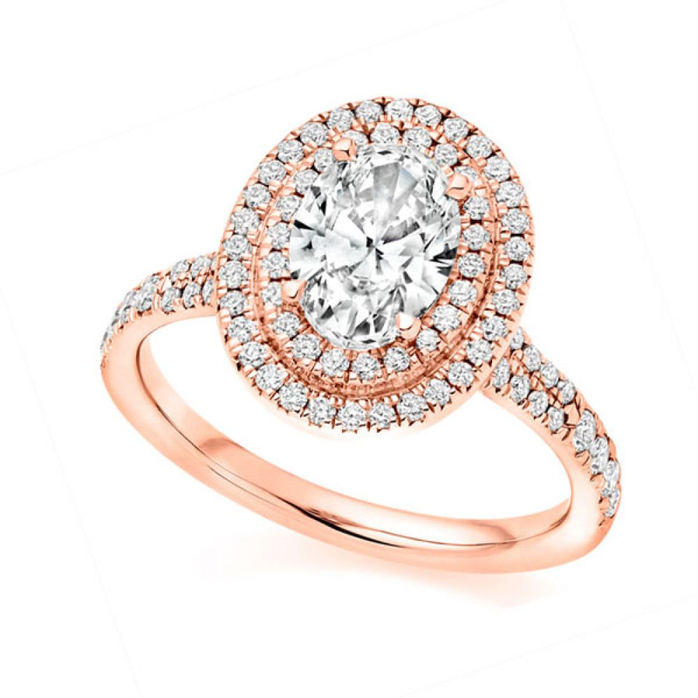 Double Halo Diamond Engagement Ring - Rose