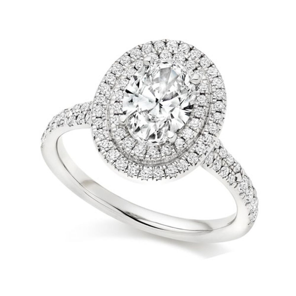 Double Halo Diamond Engagement Ring - White