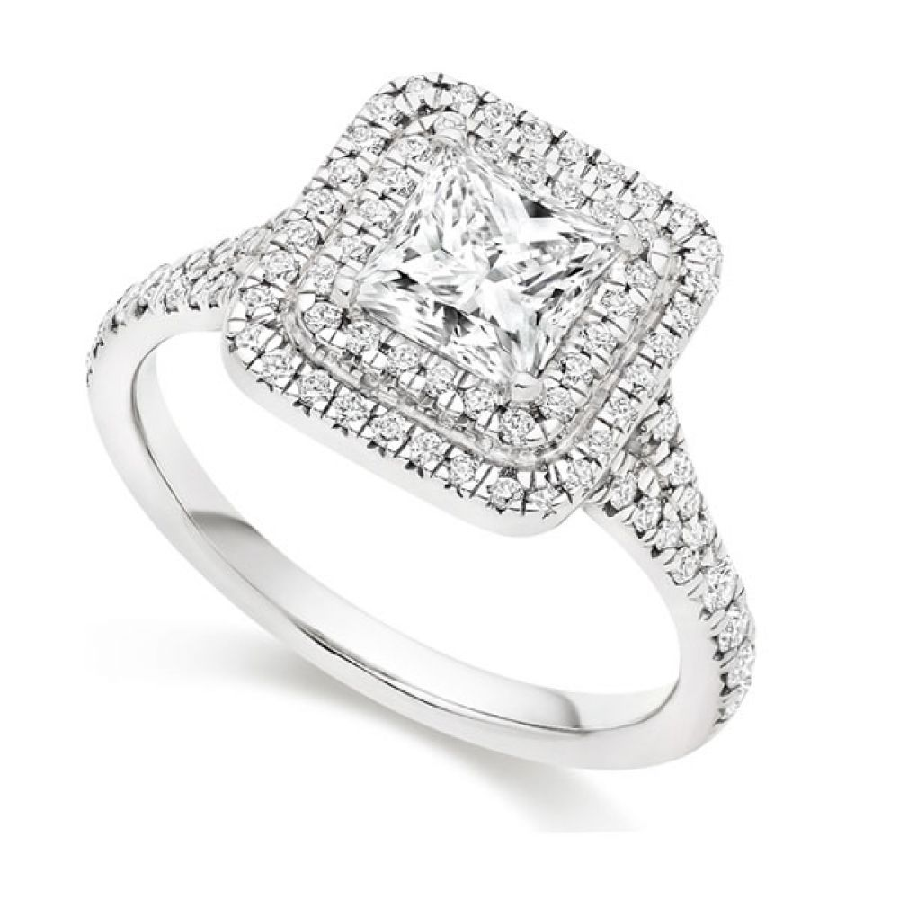 Princess Cut Double Halo Engagement Ring - White Gold