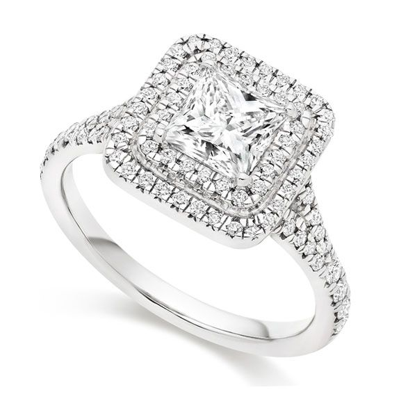 Princess Cut Double Halo Engagement Ring Main Image