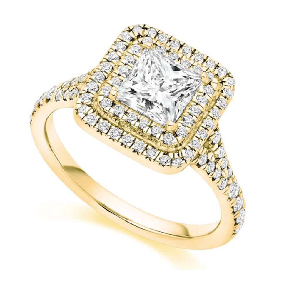 Princess Cut Double Halo Engagement Ring - Yellow Gold