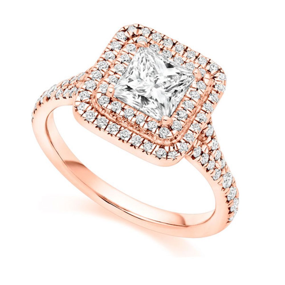 Princess Cut Double Halo Engagement Ring - Rose Gold