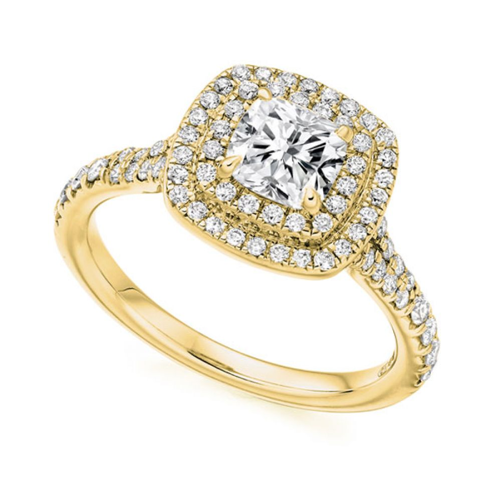 Cushion Cut Double Halo in Yellow Gold