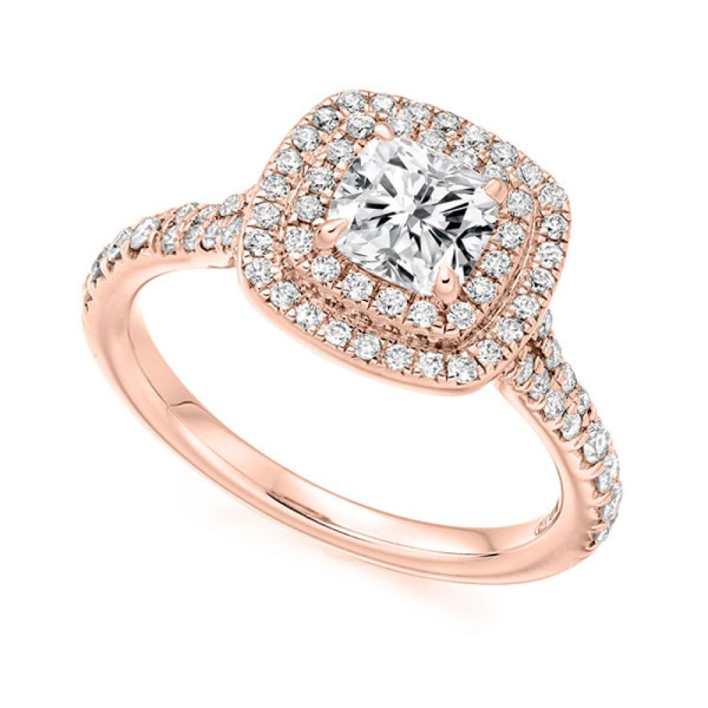 Cushion Cut Double Halo in Rose Gold