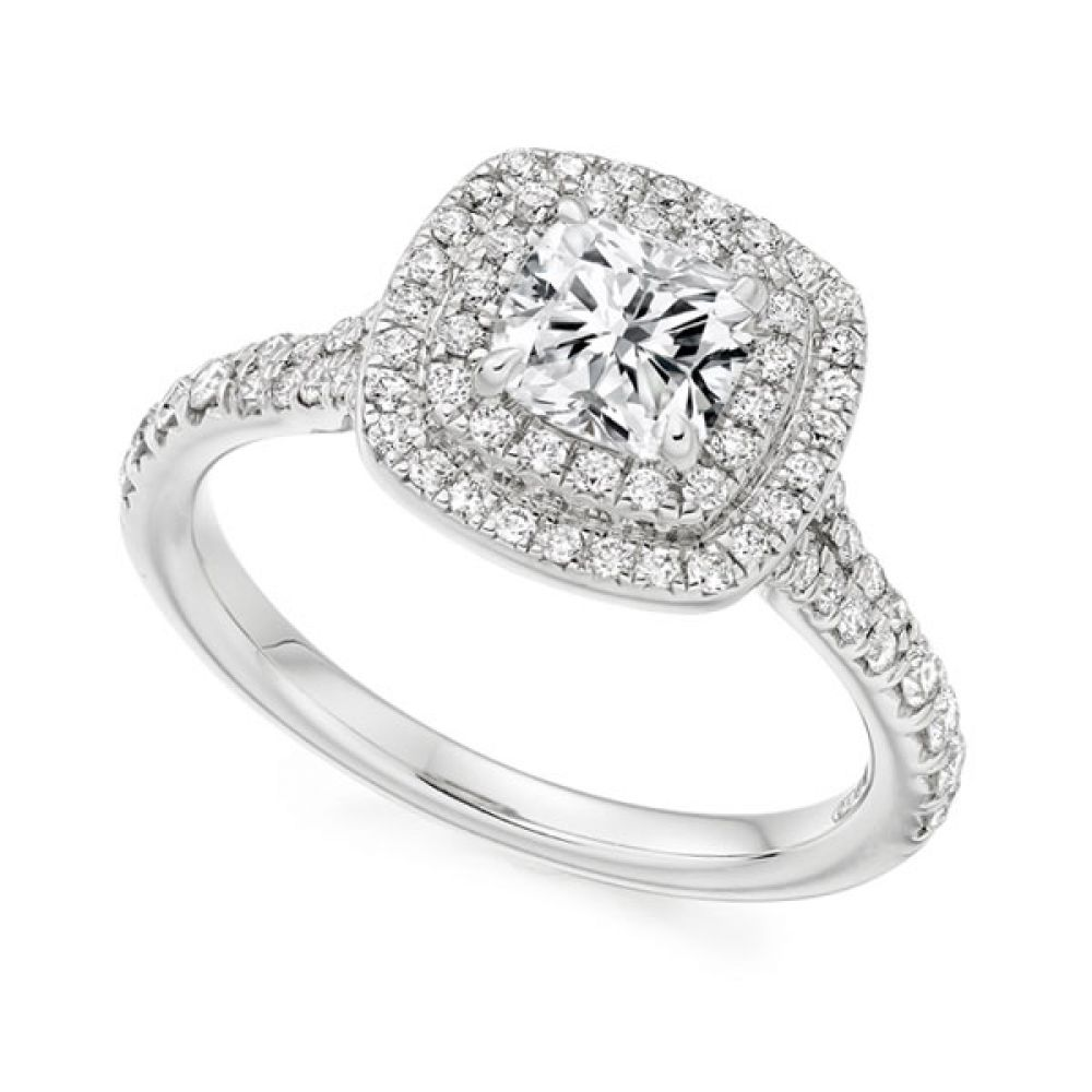 Cushion Cut Double Halo in White Gold