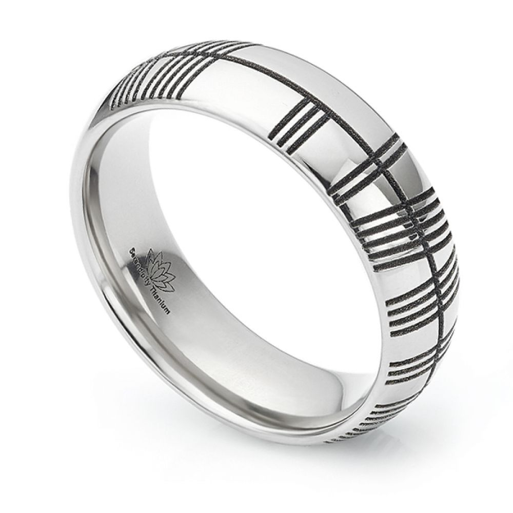 Ogham engraved wedding ring
